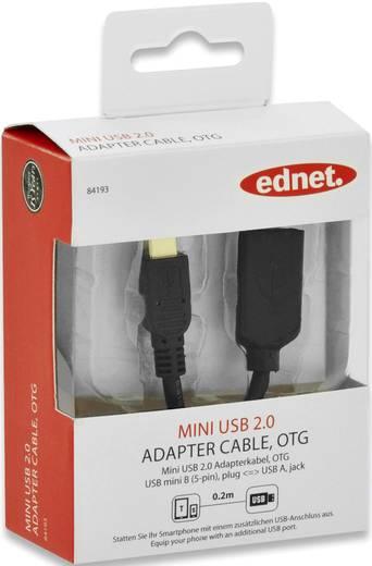 USB 2.0 Kabel [1x USB 2.0 Stecker Mini-B - 1x USB 2.0 Buchse A] 0.2 m Schwarz mit OTG-Funktion, vergoldete Steckkontakte
