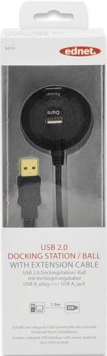 ednet USB 2.0 Verlängerungskabel [1x USB 2.0 Stecker A - 2x USB 2.0 Buchse A] 1.5 m Schwarz vergoldete Steckkontakte