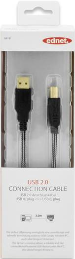 ednet USB 2.0 Kabel [1x USB 2.0 Stecker A - 1x USB 2.0 Stecker B] 3 m Schwarz vergoldete Steckkontakte