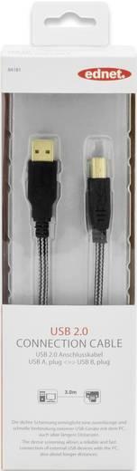 USB 2.0 Kabel [1x USB 2.0 Stecker A - 1x USB 2.0 Stecker B] 3 m Schwarz vergoldete Steckkontakte ednet