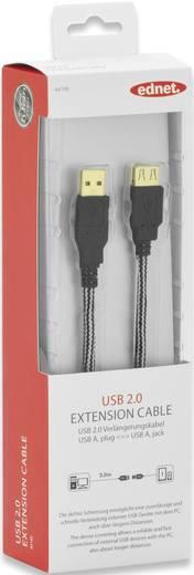 USB 2.0 Verlängerungskabel [1x USB 2.0 Stecker A - 1x USB 2.0 Buchse A] 3 m Schwarz vergoldete Steckkontakte ednet