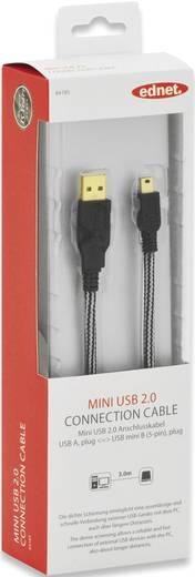 ednet USB 2.0 Kabel [1x USB 2.0 Stecker A - 1x USB 2.0 Stecker Mini-B] 3 m Schwarz vergoldete Steckkontakte