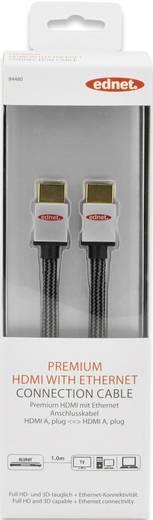 ednet HDMI Anschlusskabel [1x HDMI-Stecker - 1x HDMI-Stecker] 1 m Schwarz-Silber