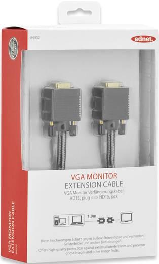ednet VGA Verlängerungskabel [1x VGA-Buchse - 1x VGA-Stecker] 1.8 m Schwarz