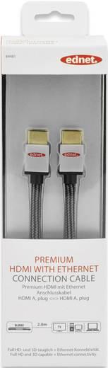 HDMI Anschlusskabel [1x HDMI-Stecker - 1x HDMI-Stecker] 2 m Schwarz-Silber ednet
