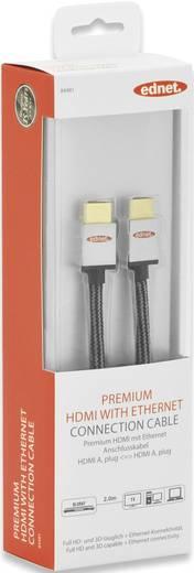 ednet HDMI Anschlusskabel [1x HDMI-Stecker - 1x HDMI-Stecker] 2 m Schwarz-Silber