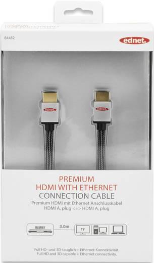 ednet HDMI Anschlusskabel [1x HDMI-Stecker - 1x HDMI-Stecker] 3 m Schwarz-Silber