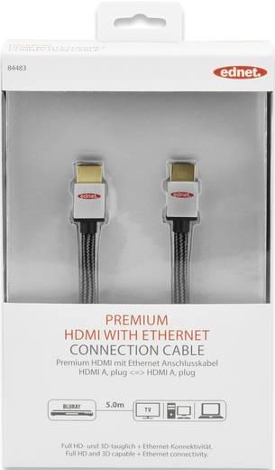 HDMI Anschlusskabel [1x HDMI-Stecker - 1x HDMI-Stecker] 5 m Schwarz-Silber ednet