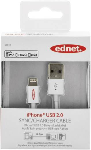 iPad/iPhone/iPod Ladekabel/Datenkabel [1x USB 2.0 Stecker A - 1x Apple Dock-Stecker Lightning] 0.50 m Weiß ednet