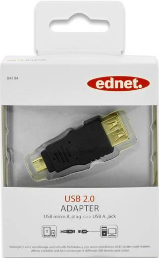 USB 2.0 Adapter [1x USB 2.0 Stecker Micro-B - 1x USB 2.0 Buchse A] Schwarz vergoldete Steckkontakte ednet