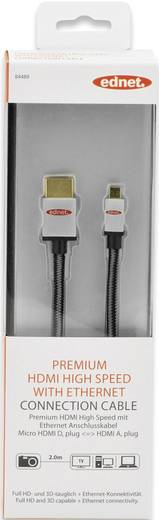 HDMI Anschlusskabel [1x HDMI-Stecker - 1x HDMI-Stecker D Micro] 2 m Schwarz-Silber ednet
