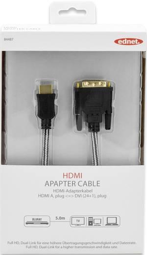 HDMI / DVI Anschlusskabel [1x HDMI-Stecker - 1x DVI-Stecker 24+1pol.] 5 m Schwarz ednet