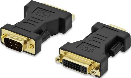 ednet VGA / DVI Adapter [1x VGA-Stecker - 1x DVI-Buchse 24+5pol.] Schwarz schraubbar, vergoldete Steckkontakte