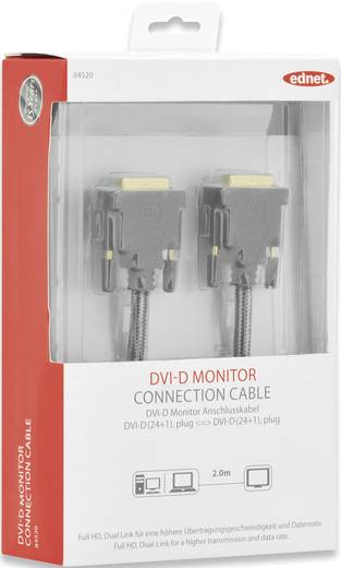 ednet DVI Anschlusskabel [1x DVI-Stecker 24+1pol. - 1x DVI-Stecker 24+1pol.] 2 m Schwarz