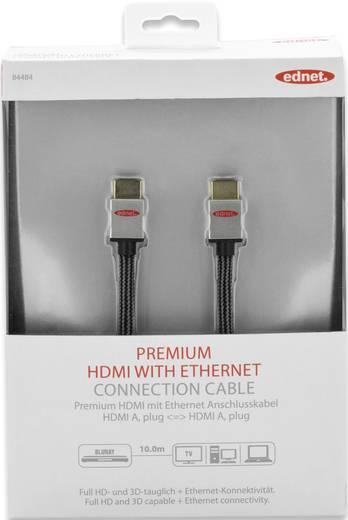 HDMI Anschlusskabel [1x HDMI-Stecker - 1x HDMI-Stecker] 10 m Schwarz/Silber ednet