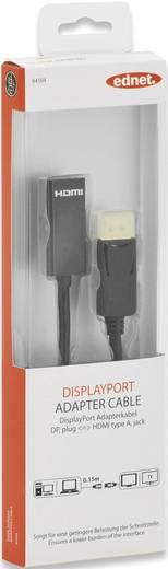 ednet DisplayPort / HDMI Anschlusskabel [1x DisplayPort Stecker - 1x HDMI-Buchse] 0.15 m Schwarz