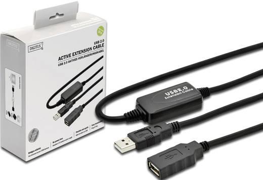 USB Kabel Verlängerung [1x USB 2.0 Stecker A - 1x USB 2.0 Buchse A] 10 m Schwarz Digitus