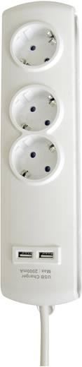 Steckdosenleiste ohne Schalter 3fach Weiß Schutzkontakt GAO EMP303-USB