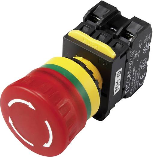 Not-Aus-Schalter mit Kontaktelement 240 V/AC 6 A 2 Öffner DECA A20L-V4E02Q7R IP65 1 St.