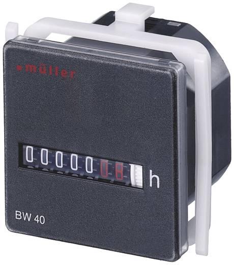 Müller BW4018 Betriebsstundenzähler Rollenzählwerk, Schalttafeleinbau, 45 x 45 mm, 7-stellig, 230 V/50 Hz