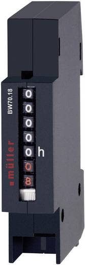 Müller BG7018 Betriebsstundenzähler Rollenzählwerk, Verteilereinbau, Einbaumaße 17.5 x 45 mm, 6-stellig, 12-48 V/DC