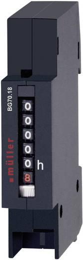 Müller BW7018 Betriebsstundenzähler Rollenzählwerk, Verteilereinbau, Einbaumaße 17.5 x 45 mm, 7-stellig, 230 V/50 Hz