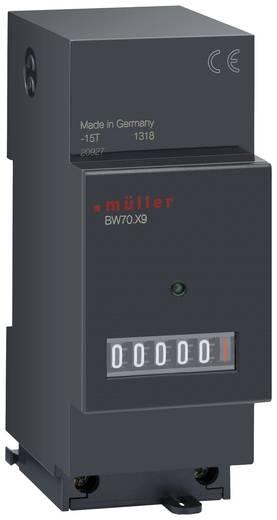 Müller BW7029 Betriebsstundenzähler Rollenzählwerk, Verteilereinbau, Einbaumaße 35 x 45 mm, 6-stellig, 230 V/50 - 60 Hz
