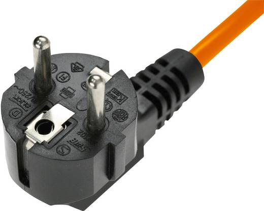 Kaltgeräte-Anschlusskabel Kaltgeräte-Buchse C13 - Schutzkontakt-Winkelstecker Schwarz, Orange Kash 3 m 1 St.