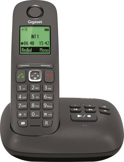 Schnurloses Telefon analog Gigaset A540A Anrufbeantworter, Freisprechen Anthrazit, Schwarz