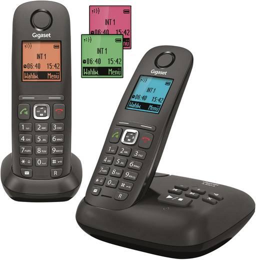 Gigaset A540A Duo Schnurloses Telefon analog Anrufbeantworter, Freisprechen Anthrazit, Schwarz