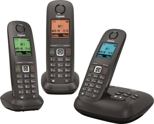 Schnurloses Telefon analog Gigaset A540A Trio Anrufbeantworter, Freisprechen Anthrazit, Schwarz
