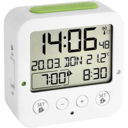 DCF budík s teplomerom TFA Dostmann Bingo 60.2528.02, časov budenia 2, biela, zelená