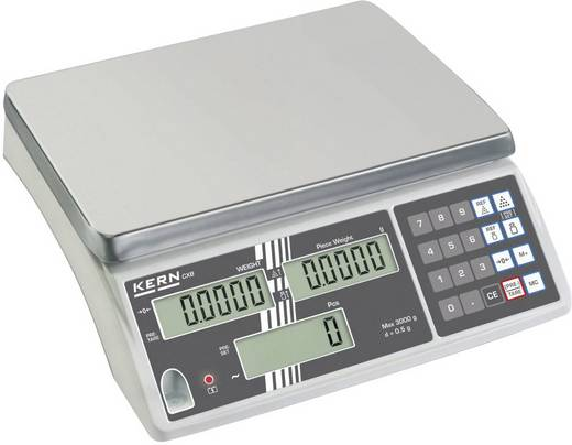 Zählwaage Kern Wägebereich (max.) 15 kg Ablesbarkeit 1 g netzbetrieben, akkubetrieben Silber Kalibriert nach ISO