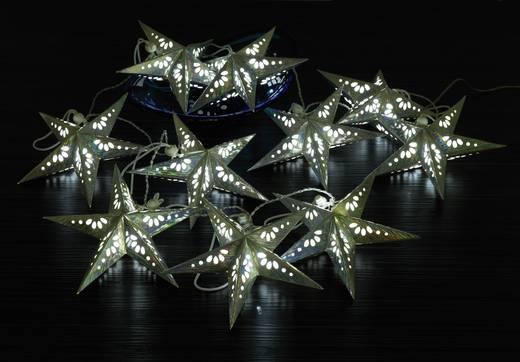 Polarlite LBA-02-002 Motiv-Lichterkette Sterne Innen batteriebetrieben 10 LED Kalt-Weiß Beleuchtete Länge: 1.8 m