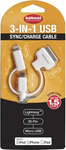 Ladekabel Hähnel Fototechnik USB / Micro-USB / Lightning / 30-Pin 10006510
