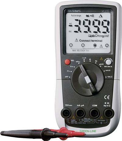VOLTCRAFT VC270 Multimetro portatile digitale Calibrato: di fabbrica (senza certificato) CAT III 600 V Display (Counts)