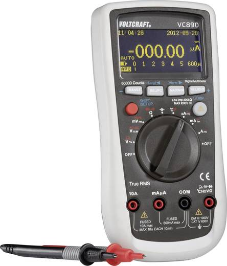 Hand-Multimeter digital VOLTCRAFT VC890 OLED Kalibriert nach: DAkkS OLED-Display, Datenlogger CAT III 1000 V, CAT IV 600