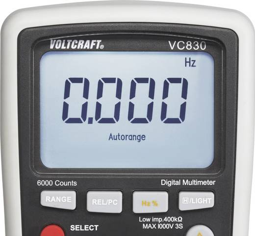 Hand-Multimeter digital VOLTCRAFT VC830 (ISO) Kalibriert nach: ISO CAT III 1000 V, CAT IV 600 V Anzeige (Counts): 6000