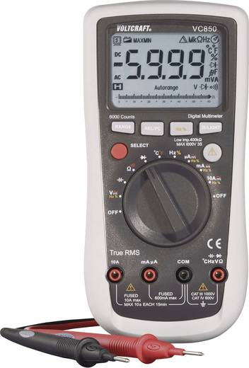 Hand-Multimeter digital VOLTCRAFT VC850 Kalibriert nach: DAkkS CAT III 1000 V, CAT IV 600 V Anzeige (Counts): 6000