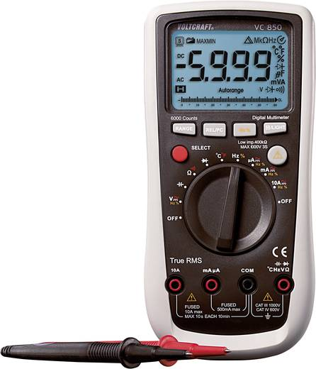 Hand-Multimeter digital VOLTCRAFT VC850 Kalibriert nach: ISO CAT III 1000 V, CAT IV 600 V Anzeige (Counts): 6000
