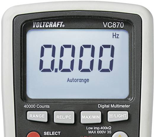 Hand-Multimeter digital VOLTCRAFT VC870 Kalibriert nach: ISO CAT III 1000 V, CAT IV 600 V Anzeige (Counts): 40000