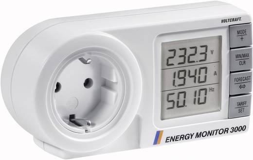 VOLTCRAFT Energy Monitor 3000 Energiekosten-Messgerät mit Anzeige des Wirkfaktors, Lasttyps und der Netzfrequenz LCD 0,0