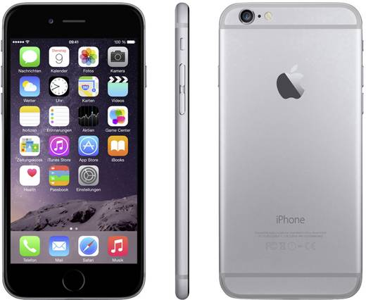 apple iphone 6 refurbished 11 9 cm 4 7 zoll 16 gb 8 mio pixel ios 8 spacegrau. Black Bedroom Furniture Sets. Home Design Ideas