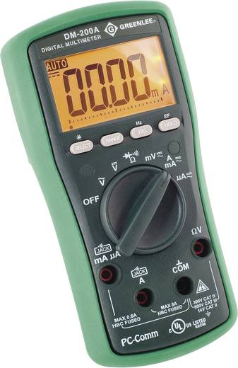Hand-Multimeter digital Greenlee DM-200A Kalibriert nach: Werksstandard CAT II 1000 V, CAT III 600 V Anzeige (Counts): 6000