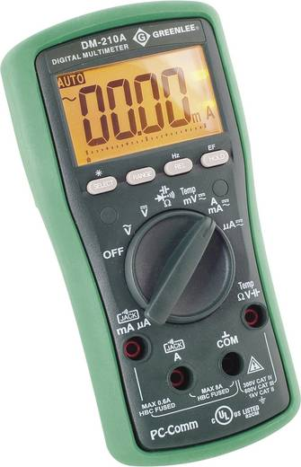 Hand-Multimeter digital Greenlee DM-210A Kalibriert nach: DAkkS CAT II 1000 V, CAT III 600 V Anzeige (Counts): 6000