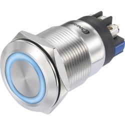 Tlačidlový spínač TRU COMPONENTS LAS1-GQ-11E/L/B/12V/S, 250 V/AC, 3 A, oceľová, 1 ks