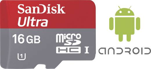 SanDisk Ultra® Android mit 80 MB/s und SanDisk Memory Zone Android App microSDHC-Karte 16 GB Class 10, UHS-I inkl. SD-Ad