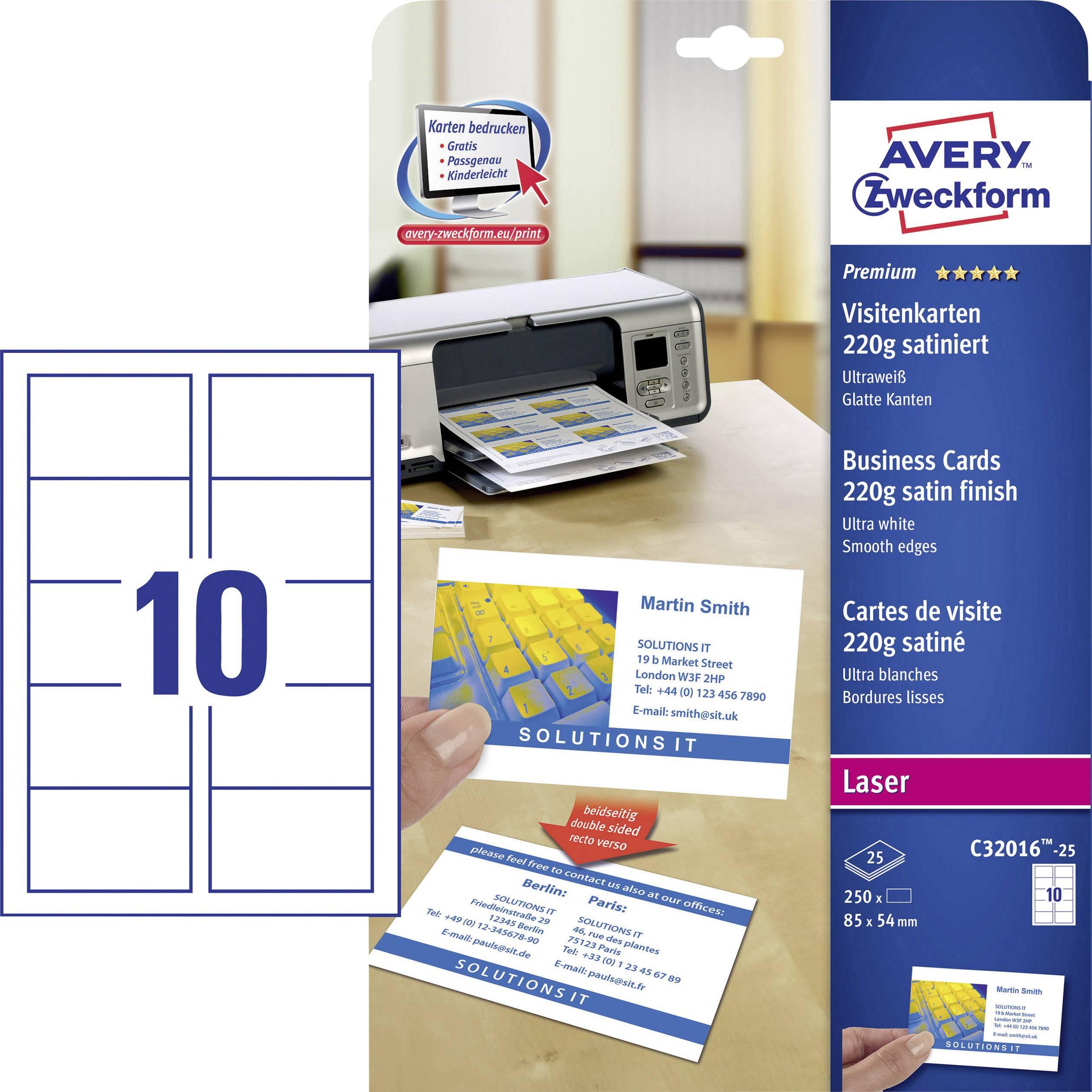 Avery Zweckform Bedruckbare Visitenkarten Glatte Kanten C32016 25 85 X 54 Mm Weiß 250 St Papierformat Din A4