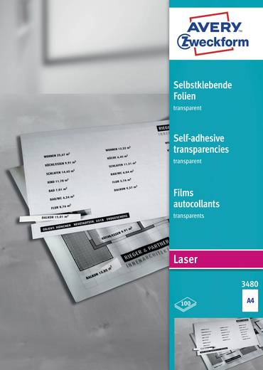 Laser Folie selbstklebend Avery-Zweckform Films transparents, autocollants, DIN A4 3480 DIN A4 Transparent Permanent 100
