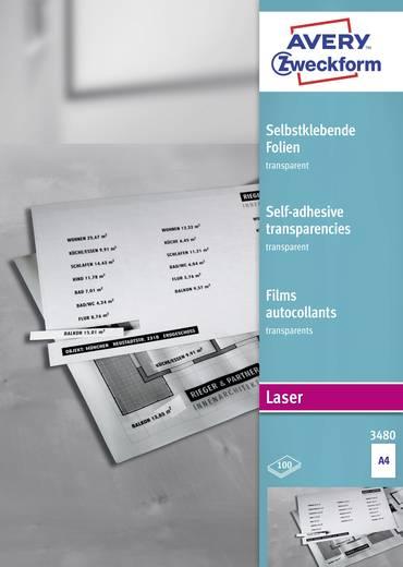 Laser Folie selbstklebend Avery-Zweckform 3480 DIN A4 Transparent Permanent 100 St.